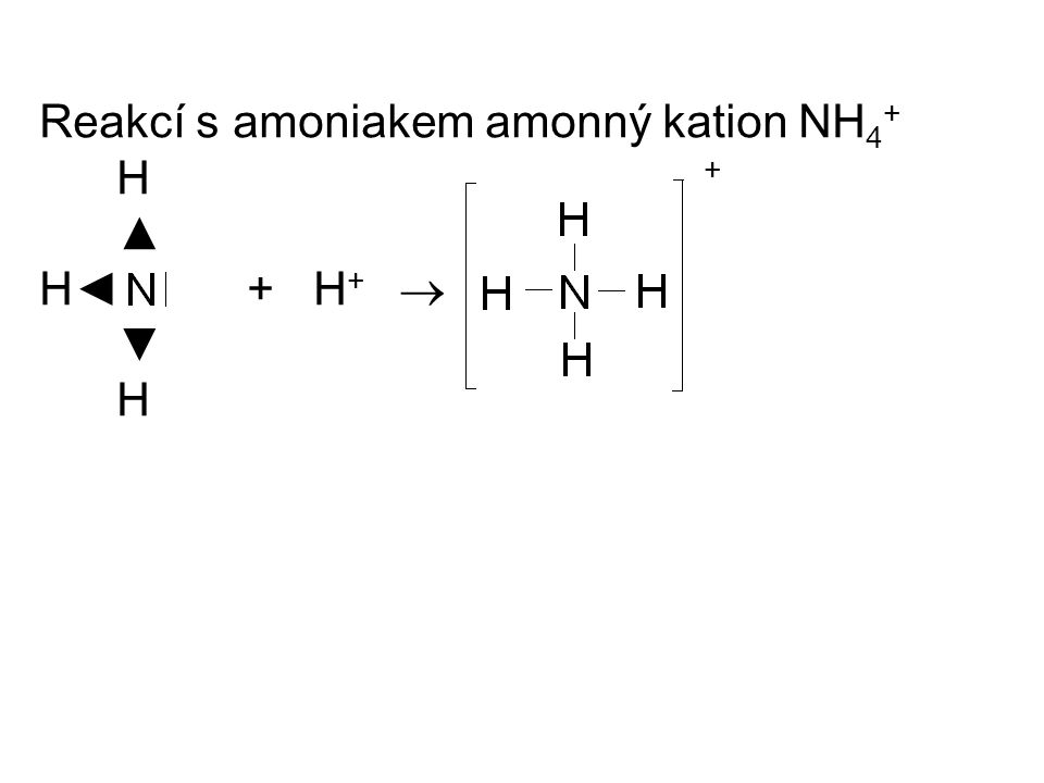 Reakcí s amoniakem amonný kation NH 4 + H + ▲ H◄ + H +  ▼ H