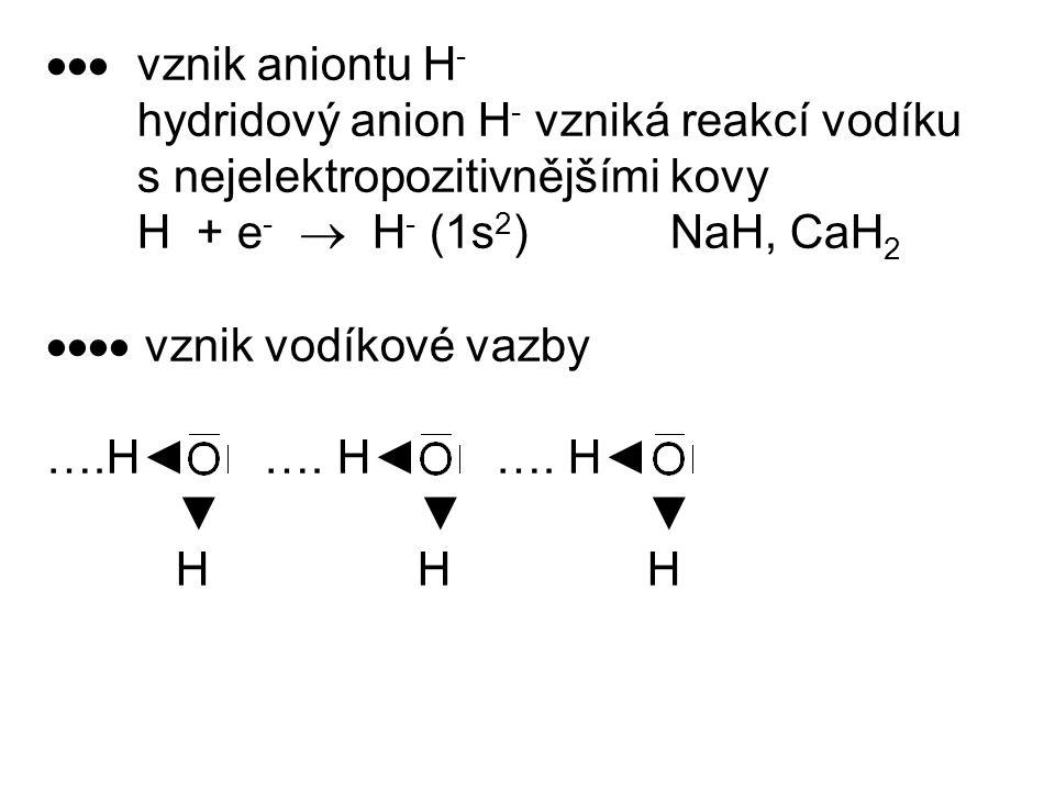  vznik aniontu H - hydridový anion H - vzniká reakcí vodíku s nejelektropozitivnějšími kovy H + e -  H - (1s 2 ) NaH, CaH 2  vznik vodíkové va