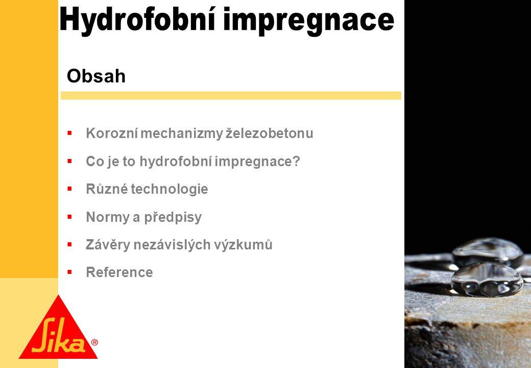1 Obsah  Korozní mechanizmy železobetonu  Co je to hydrofobní impregnace.