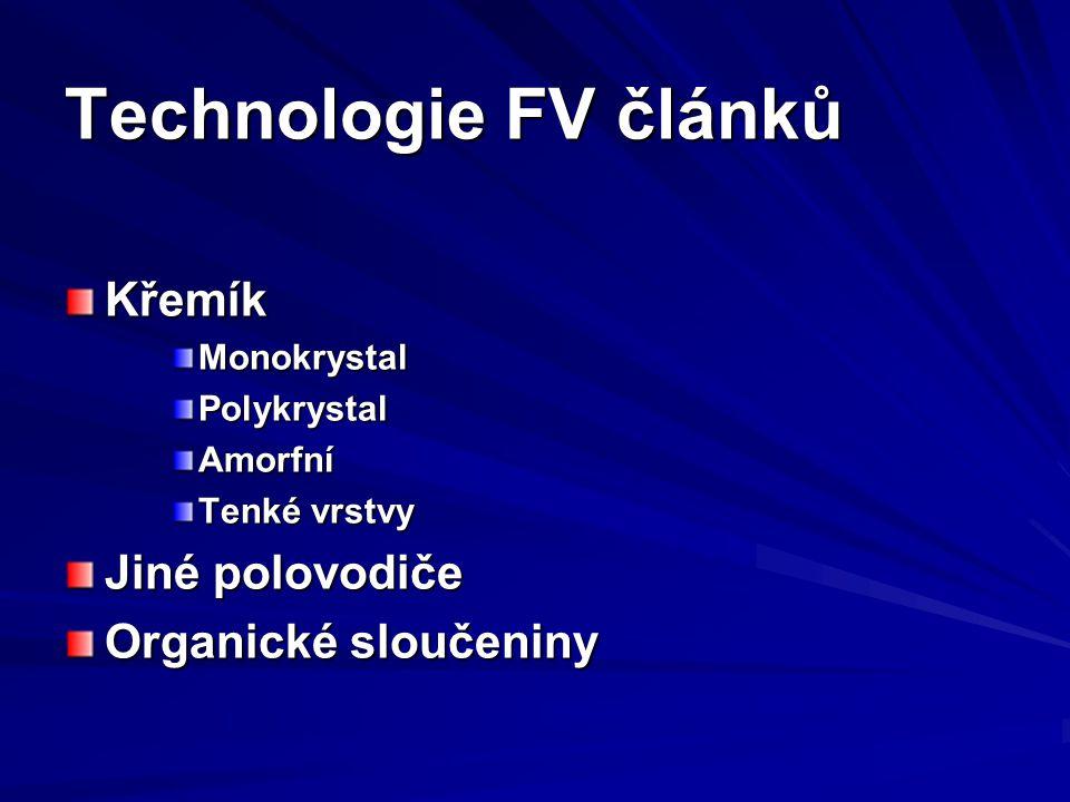 Technologie FV článků Křemík MonokrystalPolykrystalAmorfní Tenké vrstvy Jiné polovodiče Organické sloučeniny