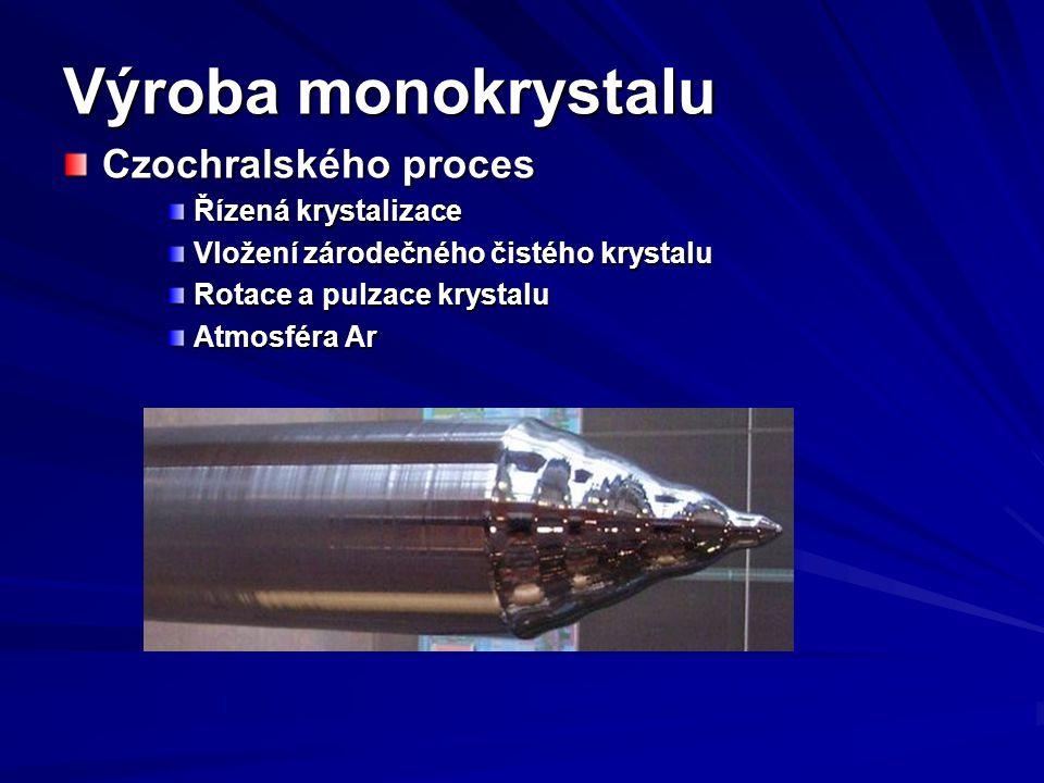 Výroba monokrystalu Czochralského proces Řízená krystalizace Vložení zárodečného čistého krystalu Rotace a pulzace krystalu Atmosféra Ar