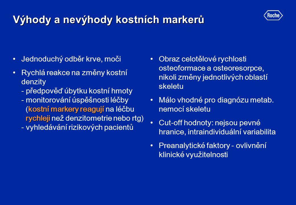 Preanalytické faktory Preanalytické faktory Neovlivnitelné:Neovlivnitelné:  věk, pohlaví, menopauza, rasa, geografické vlivy, zlomeniny, těhotenství, kojení, léky, imobilizace, metabolické změny v jiných tkáních, poruchy funkce ledvin, jater, … Ovlivnitelné:Ovlivnitelné:  cirkadiánní rytmus markerů, strava, sezónní vlivy, několikaleté cykly, tepelné podmínky skladování vzorku, UV záření, hemolýza vzorků,...