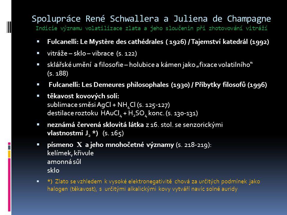 Spolupráce René Schwallera a Juliena de Champagne Indicie významu volatilizace zlata a jeho sloučenin při zhotovování vitráží  Fulcanelli: Le Mystère