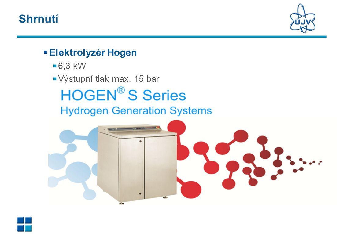 Shrnutí Elektrolyzér Hogen 6,3 kW Výstupní tlak max. 15 bar