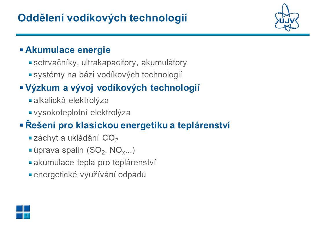 1 Oddělení vodíkových technologií Akumulace energie setrvačníky, ultrakapacitory, akumulátory systémy na bázi vodíkových technologií Výzkum a vývoj vo