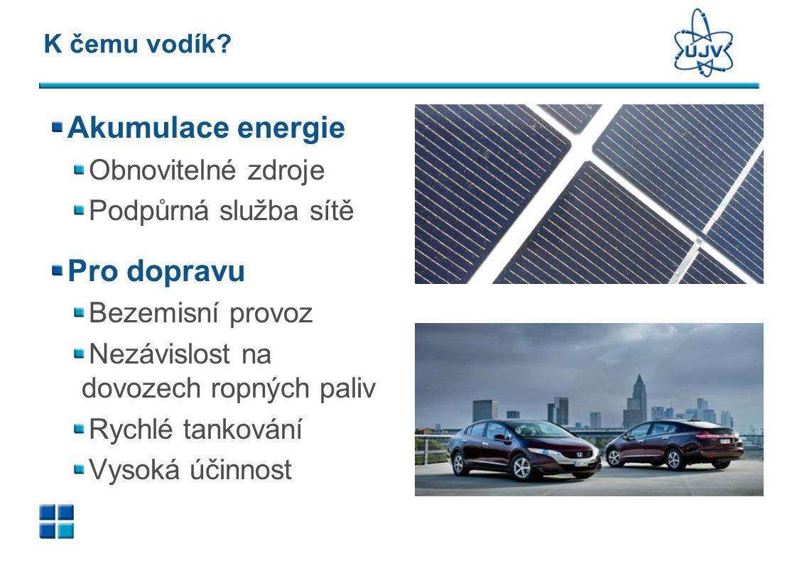 K čemu vodík? Akumulace energie Obnovitelné zdroje Podpůrná služba sítě Pro dopravu Bezemisní provoz Nezávislost na dovozech ropných paliv Rychlé tank