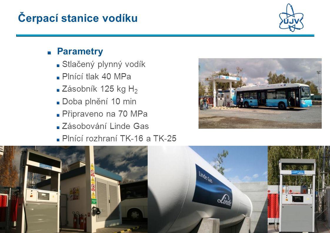 Čerpací stanice vodíku Parametry Stlačený plynný vodík Plnící tlak 40 MPa Zásobník 125 kg H 2 Doba plnění 10 min Připraveno na 70 MPa Zásobování Linde