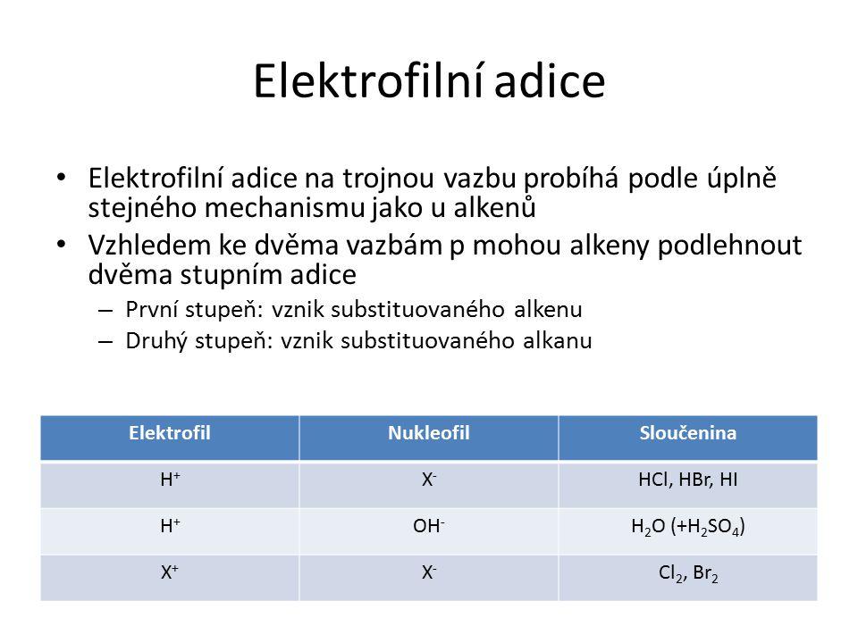 Elektrofilní adice ElektrofilNukleofilSloučenina H+H+ X-X- HCl, HBr, HI H+H+ OH - H 2 O (+H 2 SO 4 ) X+X+ X-X- Cl 2, Br 2 Elektrofilní adice na trojno