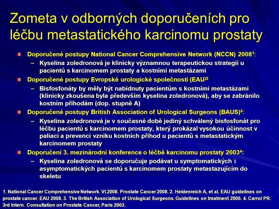 Zometa v odborných doporučeních pro léčbu metastatického karcinomu prostaty Doporučené postupy National Cancer Comprehensive Network (NCCN) 2008 1 : –Kyselina zoledronová je klinicky významnou terapeutickou strategií u pacientů s karcinomem prostaty a kostními metastázami Doporučené postupy Evropské urologické společnosti (EAU )2 –Bisfosfonáty by měly být nabídnuty pacientům s kostními metastázami (klinicky zkoušena byla především kyselina zoledronová), aby se zabránilo kostním příhodám (dop.