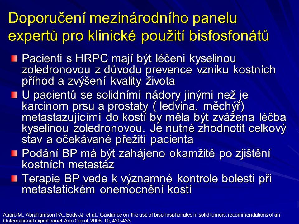 Doporučení mezinárodního panelu expertů pro klinické použití bisfosfonátů Pacienti s HRPC mají být léčeni kyselinou zoledronovou z důvodu prevence vzniku kostních příhod a zvýšení kvality života U pacientů se solidními nádory jinými než je karcinom prsu a prostaty ( ledvina, měchýř) metastazujícími do kostí by měla být zvážena léčba kyselinou zoledronovou.