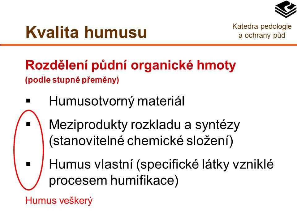 Kvalita humusu Rozdělení půdní organické hmoty (podle stupně přeměny)  Humusotvorný materiál  Meziprodukty rozkladu a syntézy (stanovitelné chemické