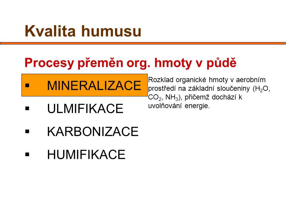 Kvalita humusu Procesy přeměn org. hmoty v půdě  MINERALIZACE  ULMIFIKACE  KARBONIZACE  HUMIFIKACE Rozklad organické hmoty v aerobním prostředí na