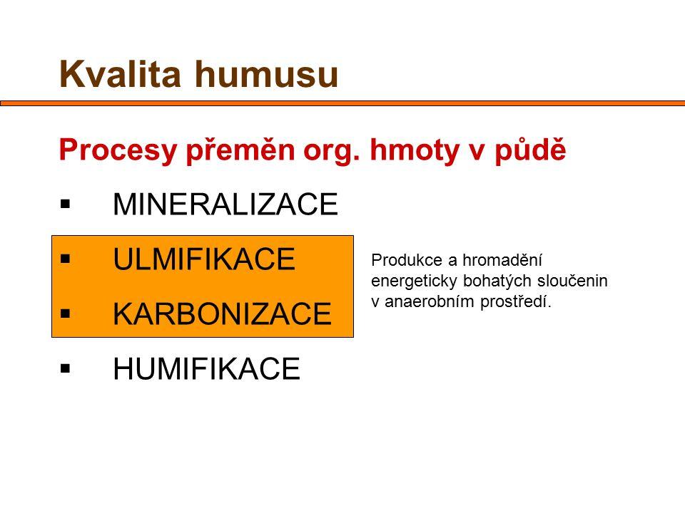 Kvalita humusu Procesy přeměn org. hmoty v půdě  MINERALIZACE  ULMIFIKACE  KARBONIZACE  HUMIFIKACE Produkce a hromadění energeticky bohatých slouč