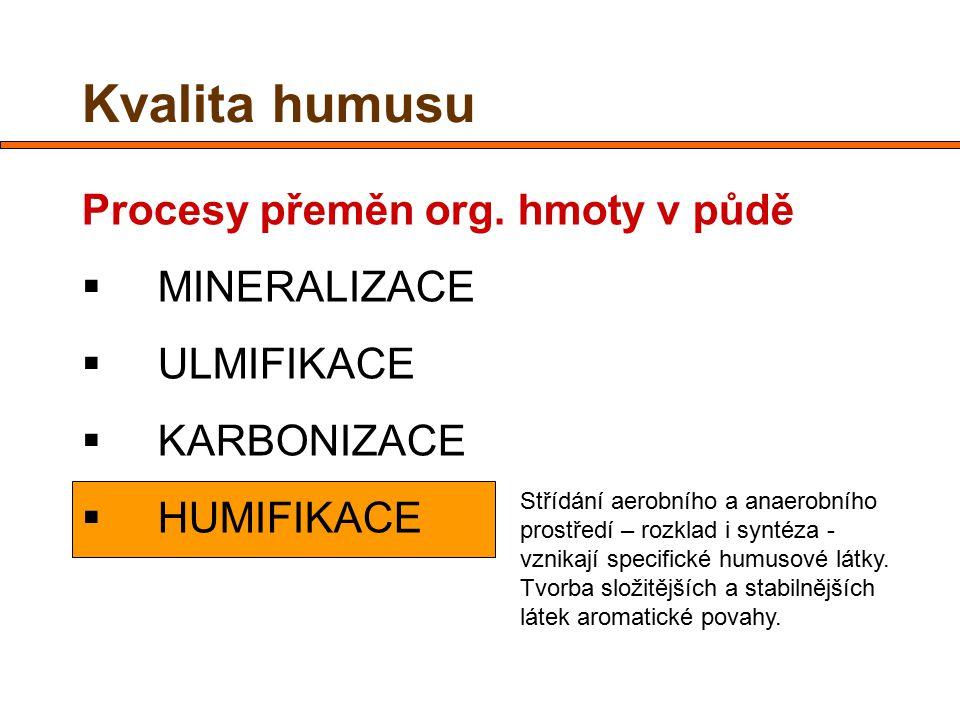 Kvalita humusu Procesy přeměn org. hmoty v půdě  MINERALIZACE  ULMIFIKACE  KARBONIZACE  HUMIFIKACE Střídání aerobního a anaerobního prostředí – ro