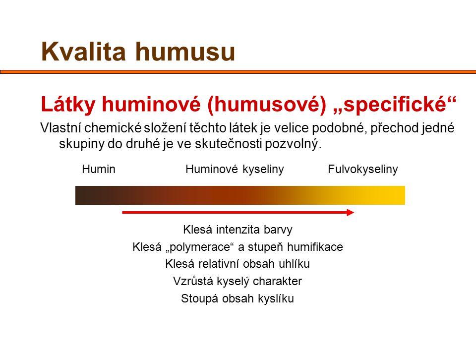 """Kvalita humusu Látky huminové (humusové) """"specifické"""" Vlastní chemické složení těchto látek je velice podobné, přechod jedné skupiny do druhé je ve sk"""