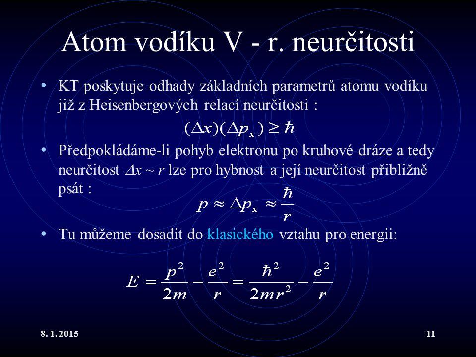 8. 1. 201511 Atom vodíku V - r. neurčitosti KT poskytuje odhady základních parametrů atomu vodíku již z Heisenbergových relací neurčitosti : Předpoklá