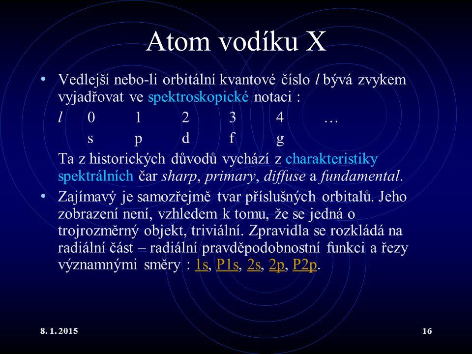 8. 1. 201516 Atom vodíku X Vedlejší nebo-li orbitální kvantové číslo l bývá zvykem vyjadřovat ve spektroskopické notaci : l01234… spdfg Ta z historick