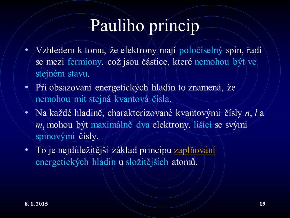 8. 1. 201519 Pauliho princip Vzhledem k tomu, že elektrony mají poločíselný spin, řadí se mezi fermiony, což jsou částice, které nemohou být ve stejné