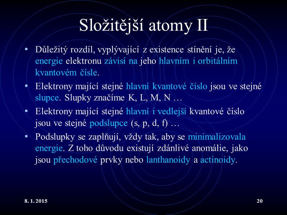 8. 1. 201520 Složitější atomy II Důležitý rozdíl, vyplývající z existence stínění je, že energie elektronu závisí na jeho hlavním i orbitálním kvantov