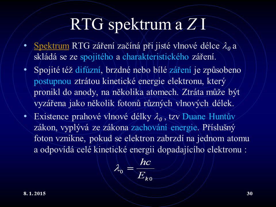 8. 1. 201530 RTG spektrum a Z I Spektrum RTG záření začíná při jisté vlnové délce 0 a skládá se ze spojitého a charakteristického záření. Spektrum Spo