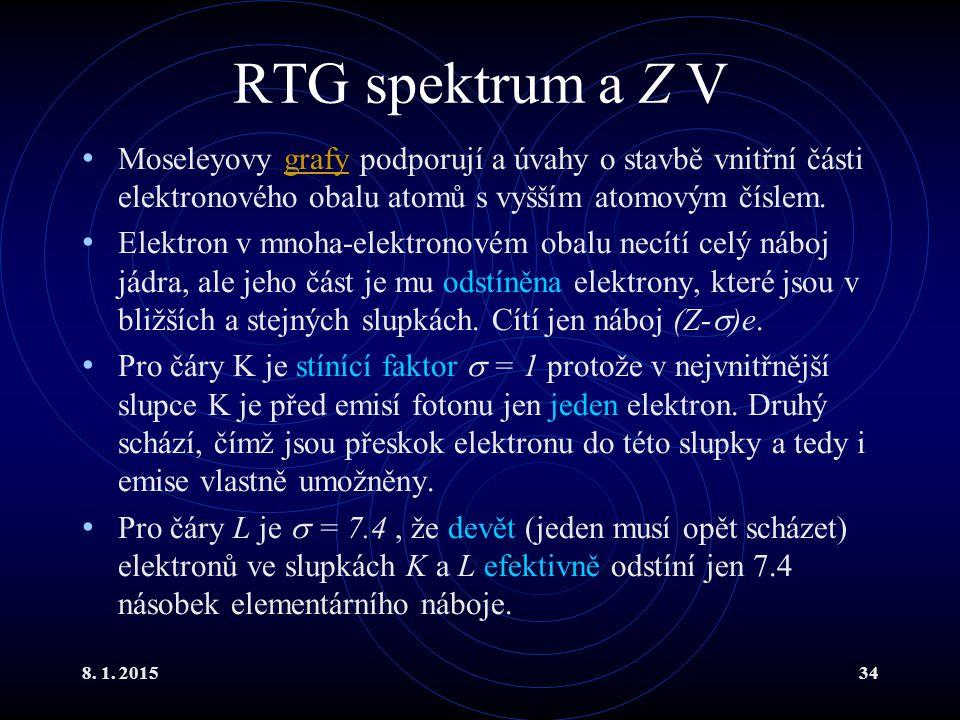 8. 1. 201534 RTG spektrum a Z V Moseleyovy grafy podporují a úvahy o stavbě vnitřní části elektronového obalu atomů s vyšším atomovým číslem.grafy Ele