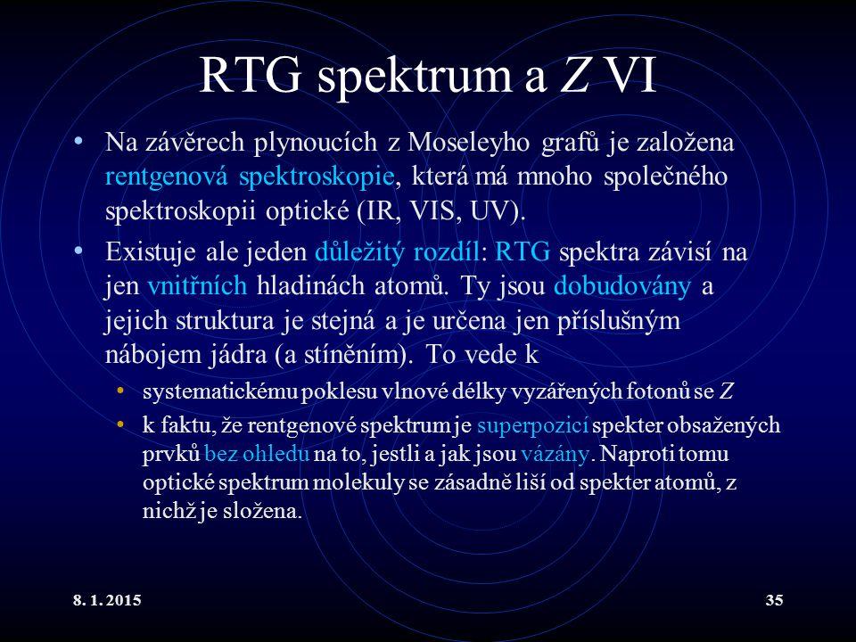 8. 1. 201535 RTG spektrum a Z VI Na závěrech plynoucích z Moseleyho grafů je založena rentgenová spektroskopie, která má mnoho společného spektroskopi