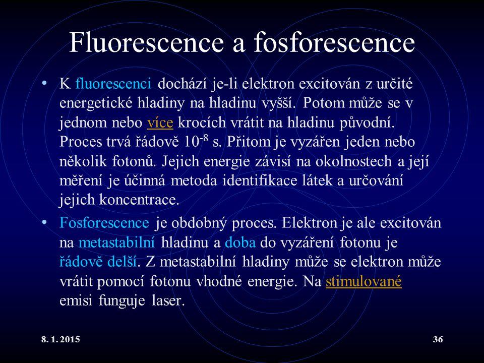8. 1. 201536 Fluorescence a fosforescence K fluorescenci dochází je-li elektron excitován z určité energetické hladiny na hladinu vyšší. Potom může se
