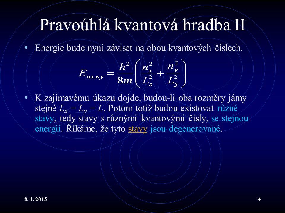 8. 1. 20154 Pravoúhlá kvantová hradba II Energie bude nyní záviset na obou kvantových číslech. K zajímavému úkazu dojde, budou-li oba rozměry jámy ste