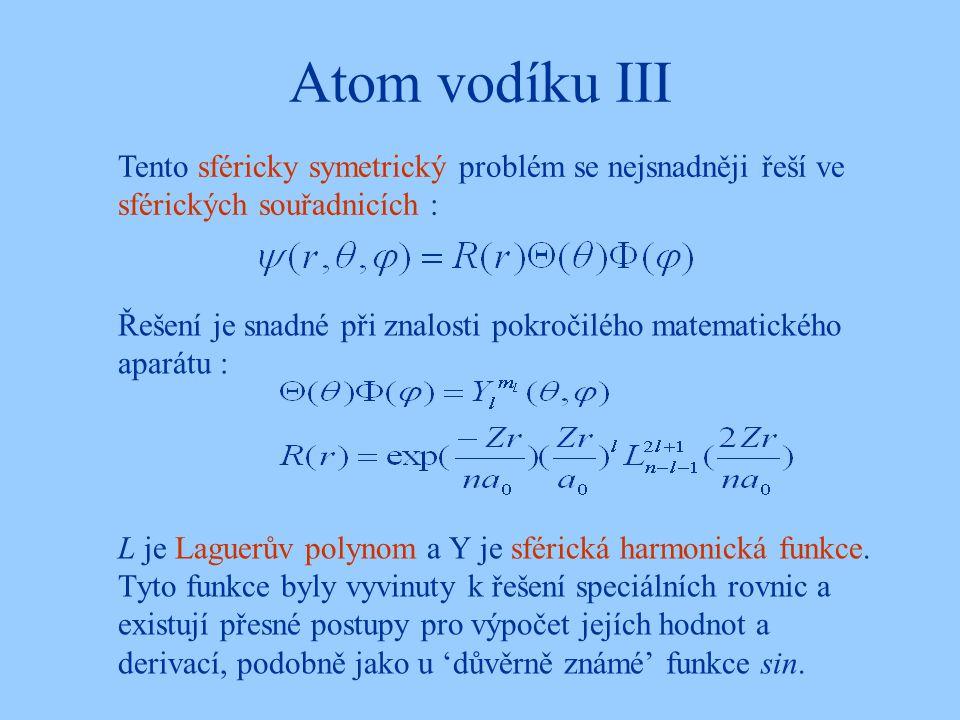 Atom vodíku III Řešení je snadné při znalosti pokročilého matematického aparátu : L je Laguerův polynom a Y je sférická harmonická funkce. Tyto funkce
