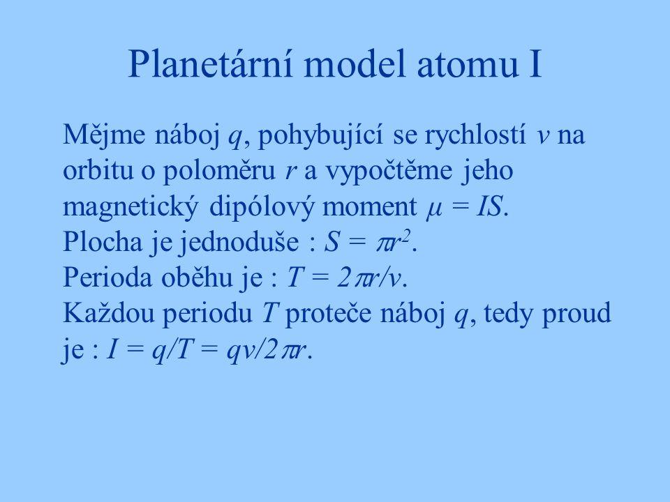 Planetární model atomu I Mějme náboj q, pohybující se rychlostí v na orbitu o poloměru r a vypočtěme jeho magnetický dipólový moment μ = IS. Plocha je