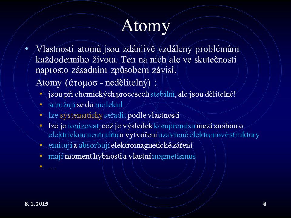 8. 1. 20156 Atomy Vlastnosti atomů jsou zdánlivě vzdáleny problémům každodenního života. Ten na nich ale ve skutečnosti naprosto zásadním způsobem záv