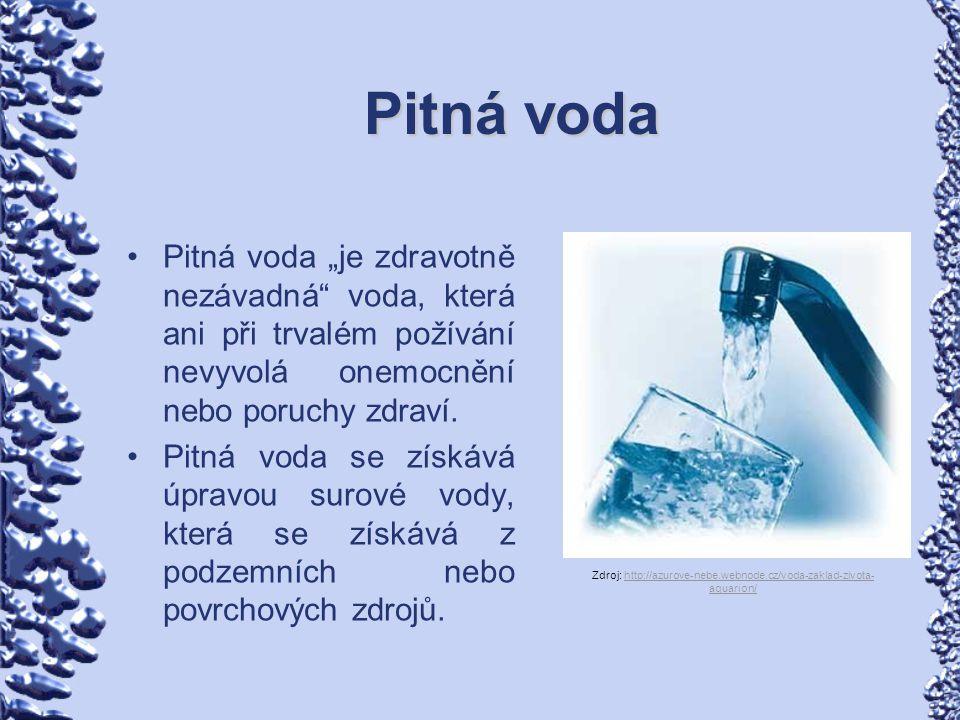 """Pitná voda Pitná voda """"je zdravotně nezávadná"""" voda, která ani při trvalém požívání nevyvolá onemocnění nebo poruchy zdraví. Pitná voda se získává úpr"""