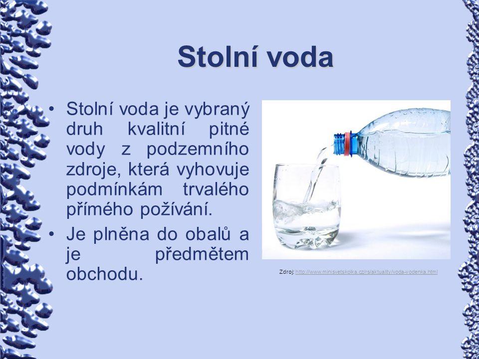 Stolní voda Stolní voda je vybraný druh kvalitní pitné vody z podzemního zdroje, která vyhovuje podmínkám trvalého přímého požívání. Je plněna do obal