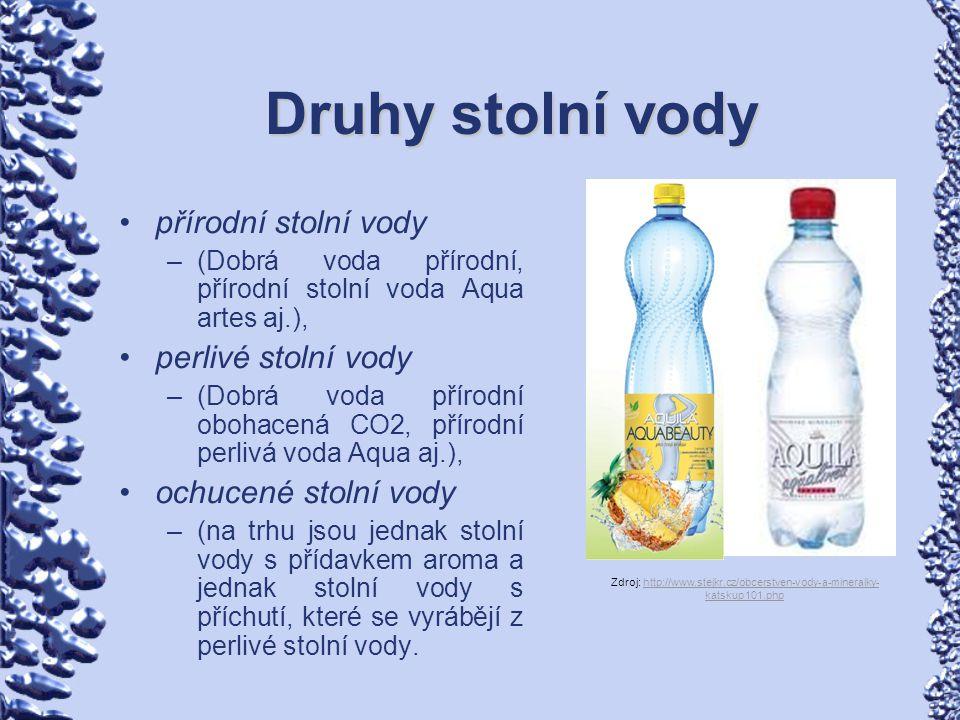 Další druhy stolní vody Sodová voda je nápoj vyrobený z pitné nebo stolní vody a oxidu uhličitého.