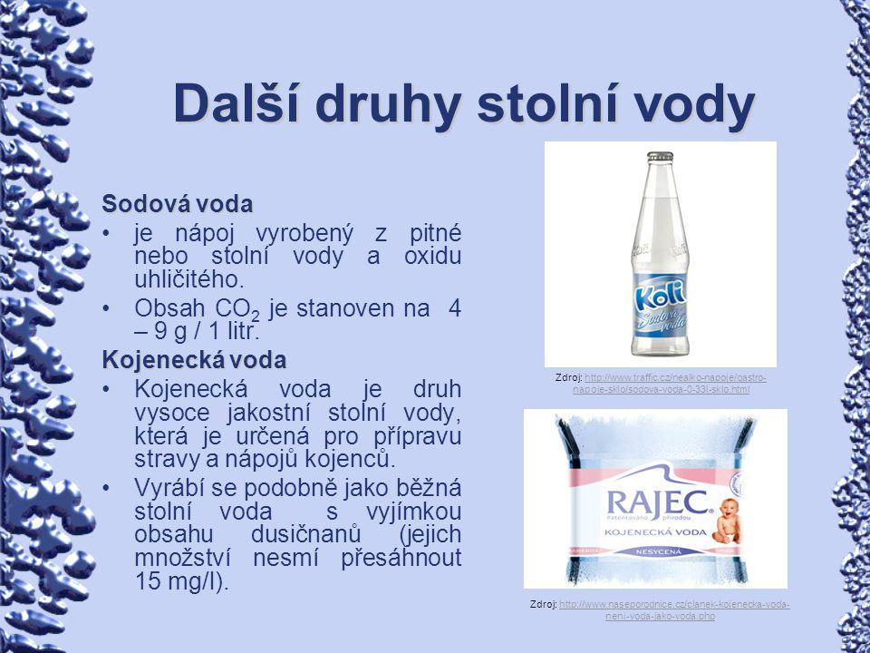 Další druhy stolní vody Sodová voda je nápoj vyrobený z pitné nebo stolní vody a oxidu uhličitého. Obsah CO 2 je stanoven na 4 – 9 g / 1 litr. Kojenec