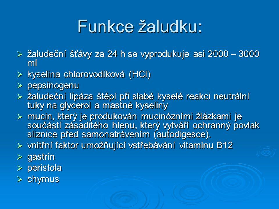 Funkce žaludku:  žaludeční šťávy za 24 h se vyprodukuje asi 2000 – 3000 ml  kyselina chlorovodíková (HCl)  pepsinogenu  žaludeční lipáza štěpí při