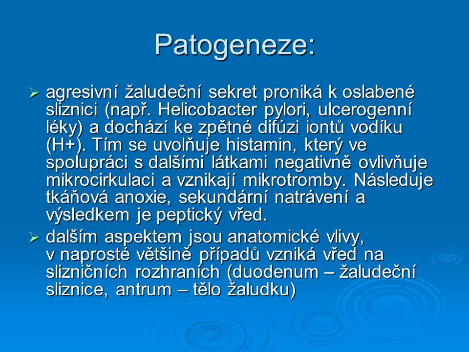 Patogeneze:  agresivní žaludeční sekret proniká k oslabené sliznici (např. Helicobacter pylori, ulcerogenní léky) a dochází ke zpětné difúzi iontů vo