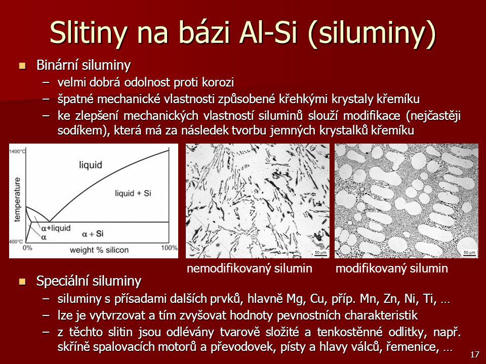 17 Slitiny na bázi Al-Si (siluminy) Binární siluminy Binární siluminy –velmi dobrá odolnost proti korozi –špatné mechanické vlastnosti způsobené křehk