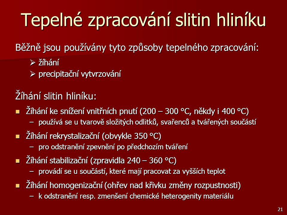 21 Tepelné zpracování slitin hliníku Běžně jsou používány tyto způsoby tepelného zpracování:  žíhání  precipitační vytvrzování Žíhání slitin hliníku
