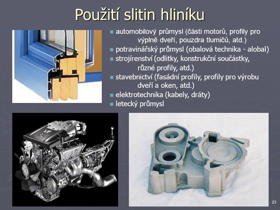 23 automobilový průmysl (části motorů, profily pro výplně dveří, pouzdra tlumičů, atd.) potravinářský průmysl (obalová technika - alobal) strojírenstv