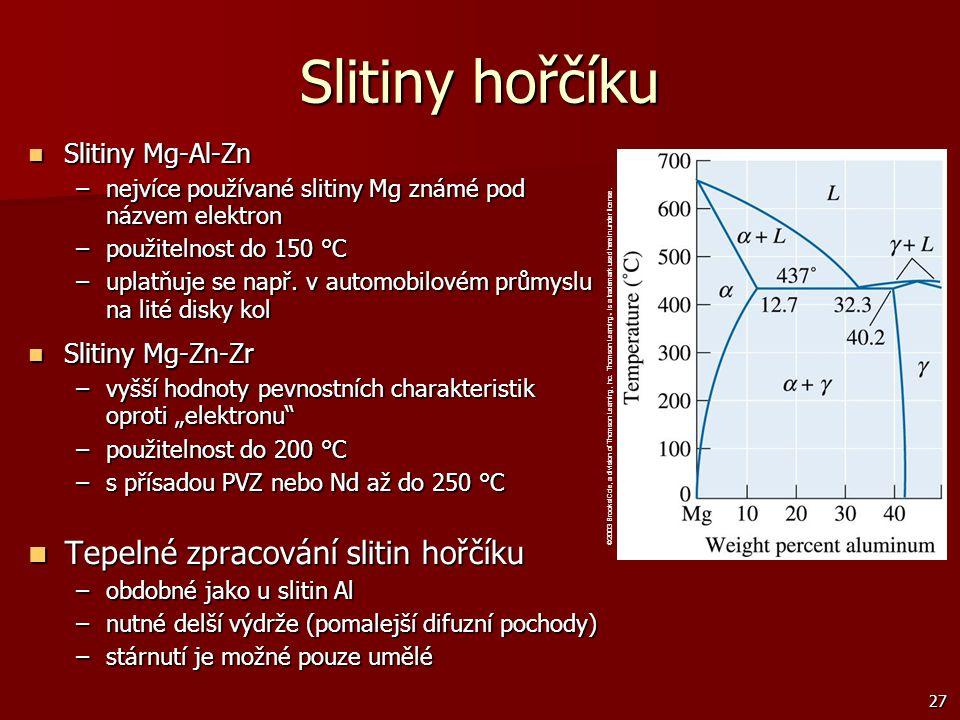 27 Slitiny Mg-Al-Zn Slitiny Mg-Al-Zn –nejvíce používané slitiny Mg známé pod názvem elektron –použitelnost do 150 °C –uplatňuje se např. v automobilov