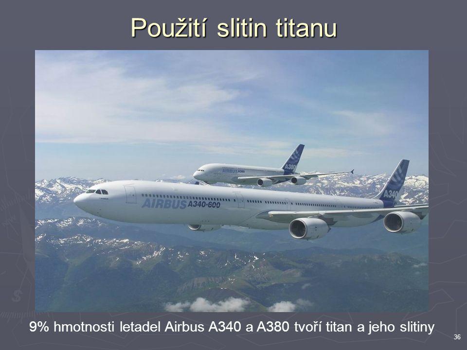 36 9% hmotnosti letadel Airbus A340 a A380 tvoří titan a jeho slitiny Použití slitin titanu