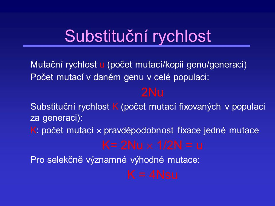 Genetický polymorfismus Polymorfní geny - věc definice, většinou geny, jejichž nejhojnější alela má frekvenci menší než 99 % Měřítko stupně vnitropopulačního polymorfismu: P - podíl polymorfních lokusů (z celkového počtu studovaných lokusů) Genová diverzita Pro jeden lokus: h = 1 - ∑x i 2 (pro m alel, X i – frekvence i-té alely v populaci) Průměrná genová diverzita pro všechny studované lokusy: H = 1/n ∑ h i