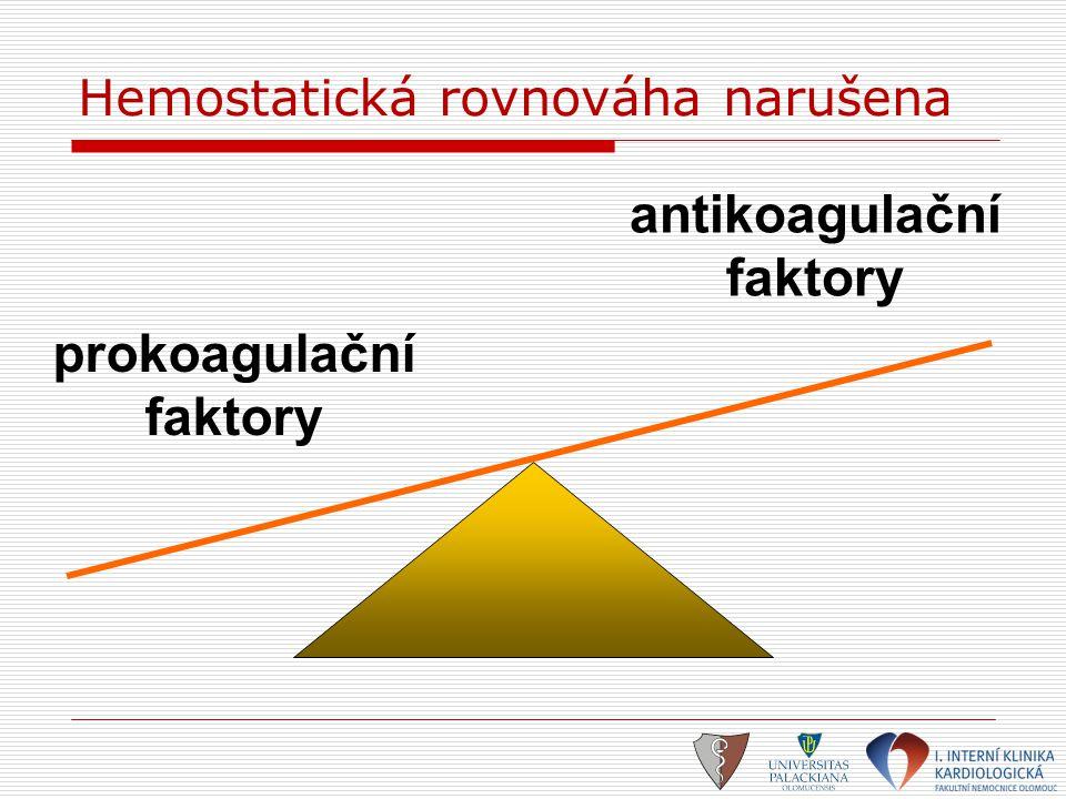prokoagulační faktory antikoagulační faktory Hemostatická rovnováha narušena
