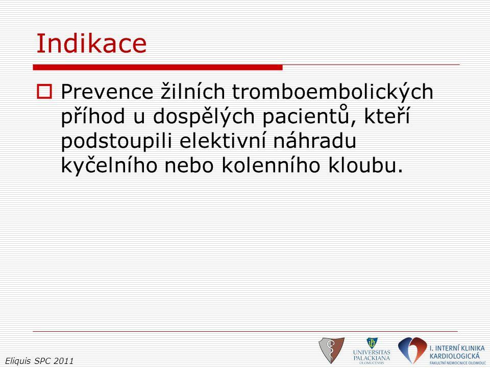 Eliquis SPC 2011 Indikace  Prevence žilních tromboembolických příhod u dospělých pacientů, kteří podstoupili elektivní náhradu kyčelního nebo kolenní