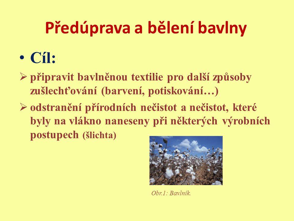 Předúprava a bělení bavlny požehování odšlichtování vyvářka praní bělení mercerování [1]