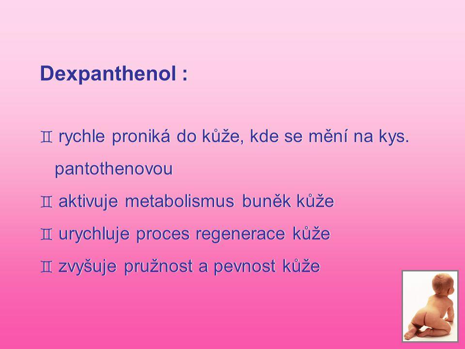 Dexpanthenol : ` rychle proniká do kůže, kde se mění na kys. pantothenovou ` aktivuje metabolismus buněk kůže ` urychluje proces regenerace kůže ` zvy