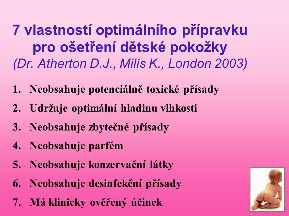7 vlastností optimálního přípravku pro ošetření dětské pokožky (Dr. Atherton D.J., Milis K., London 2003) 1.Neobsahuje potenciálně toxické přísady 2.U