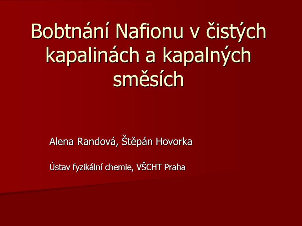 Bobtnání Nafionu v čistých kapalinách a kapalných směsích Alena Randová, Štěpán Hovorka Ústav fyzikální chemie, VŠCHT Praha