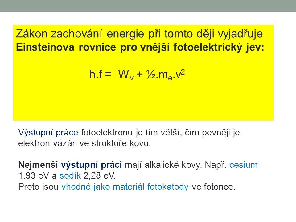 ad 5) Podmínky vzniku fotoelektrického jevu Fotoelektrický jev nastane, když kvantum energie záření pohlcené elektronem je alespoň rovno výstupní práci elektronu W V = h.